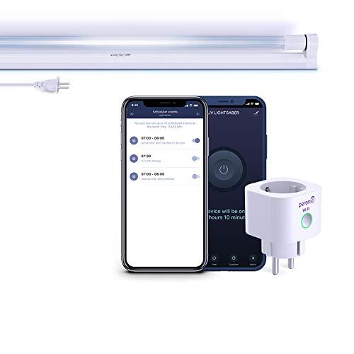 Perenio Lightsaber UV Sterilisationslampe antibakterielle mit Smart Stecker   UVC Wand Lampe Sterilisator für Schulen, Büros, Wohnzimmern, Küche   Desinfektionslampe UV, Intelligente Steckdose, Timer