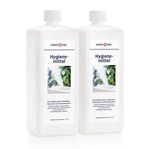 HANSE PRO Hygienemittel, 2 x 1000 ml - Konservierungs-Mittel für Luftbefeuchter, Luftreiniger, Luftwäscher, Heizkörper-Verdunster, Zimmerbrunnen - hält Verdunstwasser hygienisch einwandfrei