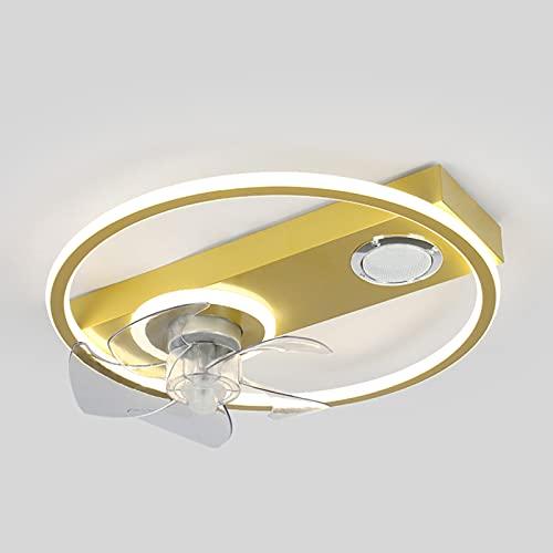 Smart Deckenventilator Mit Beleuchtung,Esszimmer Musik Ventilator Deckenleuchte Mit Bluetooth Lautsprecher, 45W Dimmbare Mit Fernbedienung,APP-Steuerung Lüfter Lampe Für Schlafzimmer,Gold