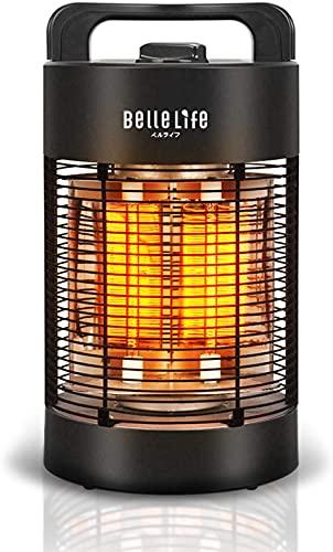 BelleLife Infrarot Standheizstrahler, Kohlenstoff Infrarotstrahler für Innen- & Außenbereich,IPX4,Terrassenstrahler oszillierend,700W 360° Tragbare Heizstrahler,4 Modi energiesparend, Schwarz