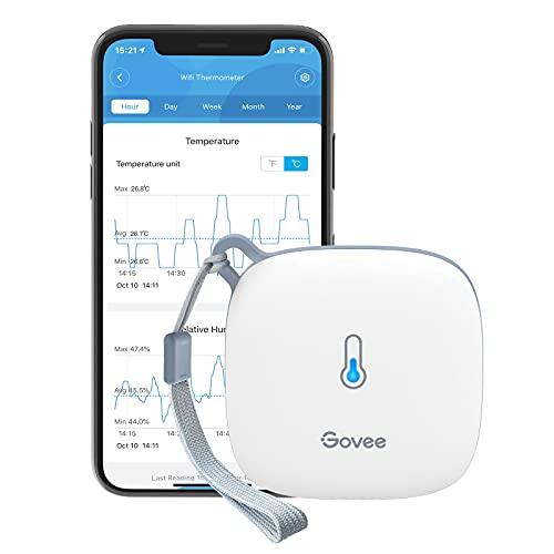 Govee WLAN Thermometer Hygrometer Innen, WiFi Thermo Hygrometer mit App Benachrichtigung und Datenspeicherung, geeignet für Gewächshaus, Weinkeller, weiß