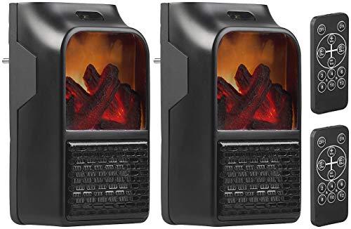 Sichler Haushaltsgeräte Handy Heater: 2 Steckdosen-Heizlüfter mit Kaminfeuer-Effekt und Fernbedienung, 500 W (Steckdosen-Heizluefter)