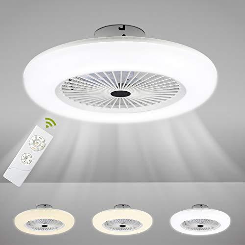 Hengda 80W Deckenventilator mit Beleuchtung, Einstellbare Windgeschwindigkeit und Farbtemperatur, Lüfter-Deckenleuchte mit Fernbedienung Wohnzimmer Schlafzimmer Esszimmer Fan Lampe LED, 2700K-6500K