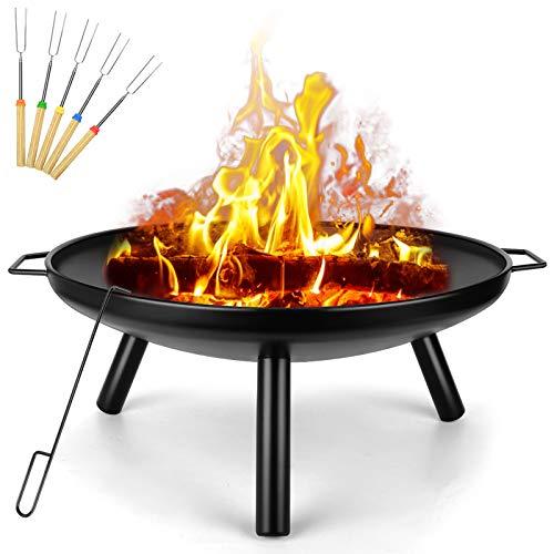 Outdoor Feuerstelle Garten Terrassenstrahler Holzkohle Holzofen Stahl Feuerschale für BBQ Camping Picknick Ø 60cm
