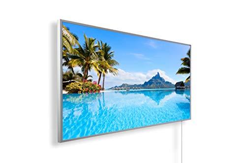 Könighaus Infrarotheizung – Bildmotiv- 1200 Watt + Smart Thermostat + Könighaus APP - Weißer Rahmen (01. Bora Bora Insel)