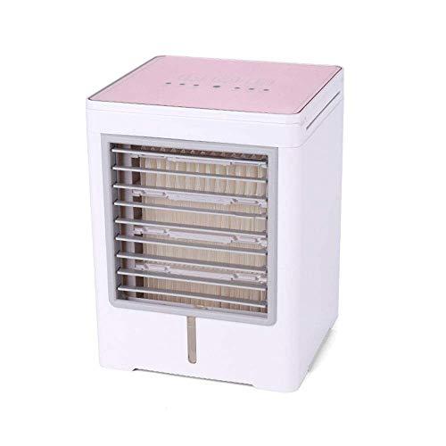 GUONING-L USB-Fan, Luftkühler Luftbefeuchter Purifier Mini Klimaanlagen-Ventilator Noiseless Verdunstungskühler Mobile Air Conditioner tragbare Luftkühler (Farbe: Pink, Größe: 14.5x14.5x19cm)