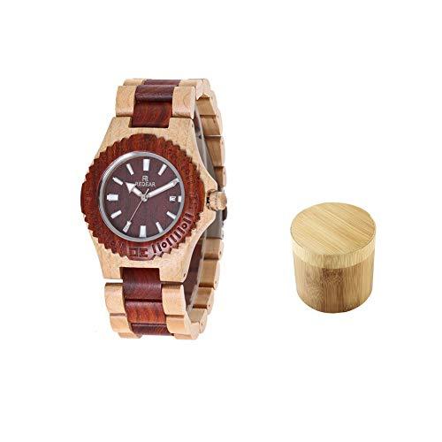 Holz Armbanduhr, Quarz Holzuhr Uhren Geschenk Set für Männer, Klassische Holz Kreativuhr Wassergeist Sandelholz Kalender Quarz Herrenarmbanduhr Geschenkbox
