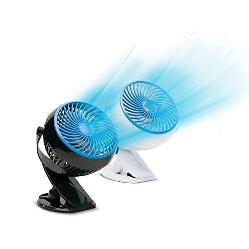 Livington Go Fan Doppelpack – mobiler Mini Ventilator mit Akku – kraftvoller USB Ventilator mit 6h Laufzeit – flexibler Tischventilator zum Aufstellen oder Klemmen – 2 Stk., schwarz + weiß