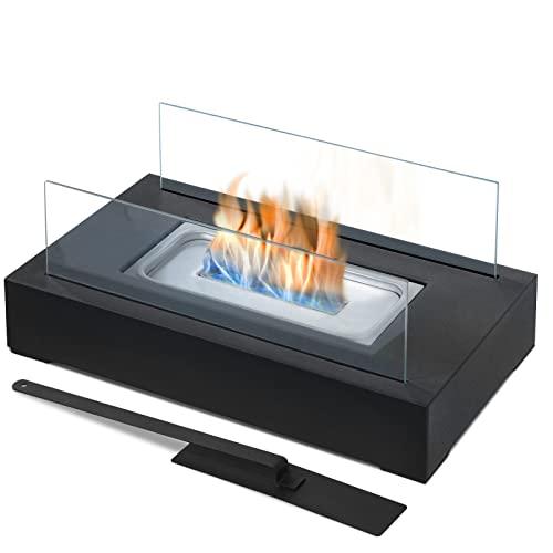 Jago® Tischkamin - Edelstahl, Bio-ethanol, für den Innen- und Außenbereich, inkl. Löschgerät, Schwarz - Feuerstelle, Glaskamin, Glasfeuer, Tischfeuer, Tisch-Dekofeuer