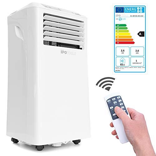 IPOTOOLS Lokales mobiles Klimagerät mit Abluftschlauch / 3in1 mobile Klimaanlage/Kühlen Ventilieren Entfeuchten / 9000 BTU/Räume 12 bis 40 qm/Fernbedienung / 24h Timer/Kühlmittel R290