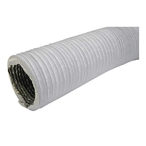 Ø 125mm, Weiß Abluftschlauch - Länge 1m mit Alu-Isolierung - für Trockner, Klimaanlage, Abzugshaube - Combi-Flexrohr Alu/PVC Flexrohr