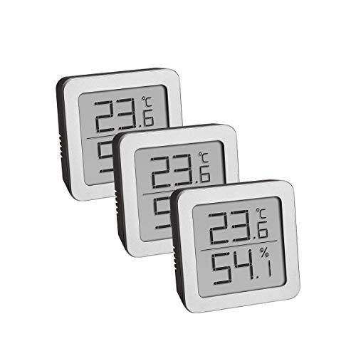 TFA Dostmann 3-Set Hygrometer digital innen, 95.2019.54, zur Luftfeuchtigkeitsmessung und Temperaturmessung, mit flexiblem magnetischen Halter, schwarz-Silber, L B 20 (27) x H 61 (65) mm