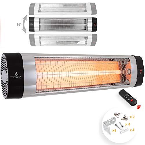 KESSER® Infrarotstrahler 2500 Watt Heizstrahler Terrassenstrahler Wärmestrahler mit Fernbedienung , Wandhalterung , Leistung: 2500W mit Fernbedienung (2500W mit Fernbedienung ( Silber ))