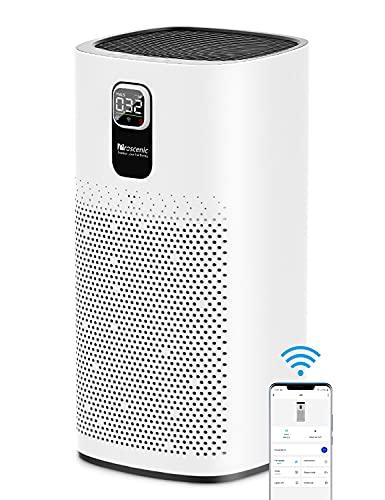 Proscenic A9 Luftreiniger Air Purifier App Steuerung, 99,97% Filterleistung, Hepa 13 Filter, CADR 460m³/h bis zu 90m² große Wohnung, Allergiker Raucher gegen Staub Pollen Geruch, Weiß