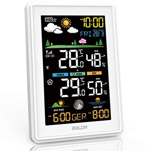 Konsen Wetterstation funk mit Außensensor Multifunktionale Funkwetterstation DCF Funkuhr Digital Thermometer Hygrometer mit Wettervorhersage, Weiß