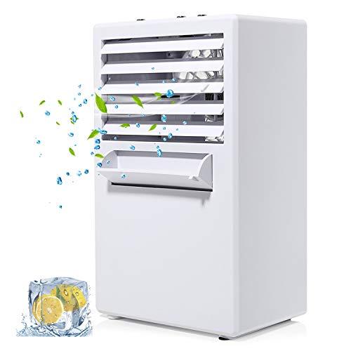 COMLIFE Tragbare Klimaanlage, Persönlicher Mini Tischventilator 3 in 1, Aircooler Klimagerät mit 3 Geschwindigkeitsstufen für Büro Zuhause Luftbefeuchter/Luftkühler