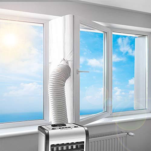 Fensterabdichtung für Mobile Klimageräte Dachfenster   Hot Air Stop zum Anbringen an Schwingfenster   Passend zu Jedem Klimagerät und Allen Schlauchgrößen Fensterabdichtung Klimaanlage, 400CM