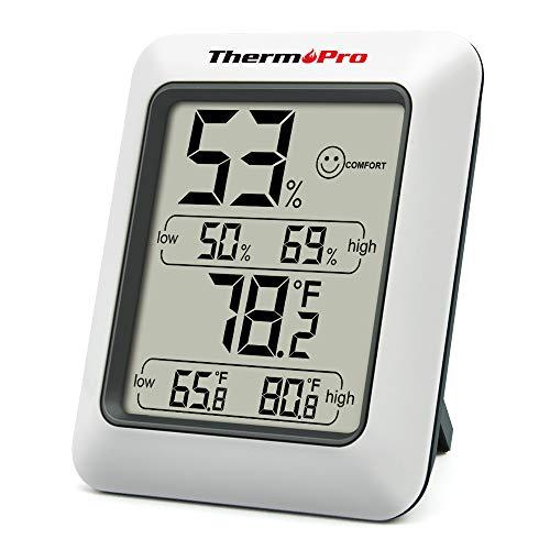 ThermoPro TP50 digitales Thermo-Hygrometer Hygrometer Innen Thermometer Raumthermometer mit Aufzeichnung und Raumklima-Indikator für Raumklimakontrolle Klima Monitor