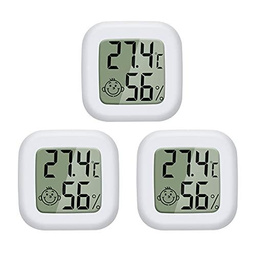 PAIRIER 3 Stück Mini LCD Digitales Thermometer Hygrometer Innen Thermo-Hygrometer Luftfeuchtigkeit Meter für Babyzimmer Wohnzimmer Büro Kühlschrank