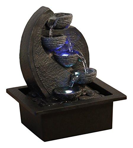 Zen'Light Cascade-V2 Wasserfallbrunnen Polyresin grau/schwarz 17x 21x 26cm