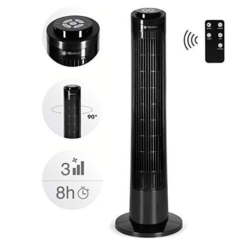 TECVANCE Modelljahr 2021 - Säulenventilator mit Fernbedienung, Turm Ventilator leise & 90° oszillierend, Boden Standventilator mit Timer, 76cm x 24cm (Schwarz)