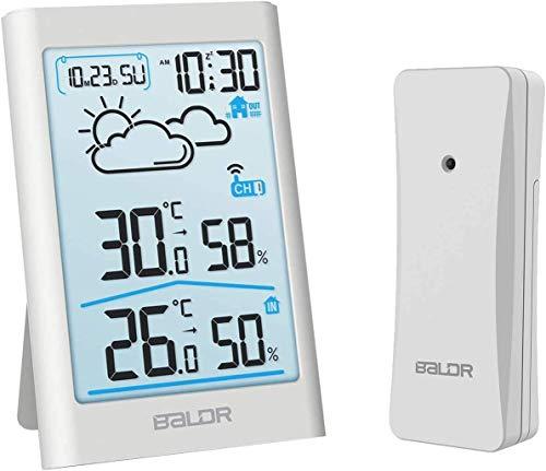 TEKFUN Wetterstation Funk mit Außensensor, Digital Thermometer Hygrometer Innen und Außen Raumthermometer Hydrometer Feuchtigkeit mit Wettervorhersage (Weiß)