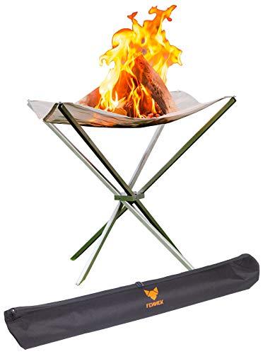 FENNEK HIGH FIRE | Hochwertiges, transportables XL Feuernetz | 60 x 60 x 63 cm | aus hitzebeständigem Edelstahl | Mit Tasche | Perfekt für Daheim oder den mobilen Einsatz