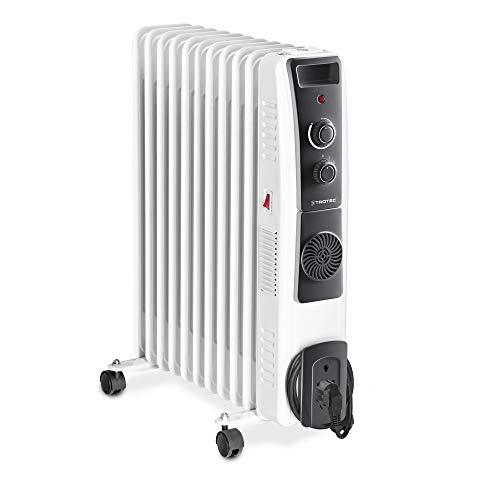 TROTEC Ölradiatore TRH 23 E - elektrischer, energiesparender Heizkörper mit 11 Rippen, 3 Heizstufen (1.000/1.500/2.500 Watt), regulierbaren Thermostat, Turbogebläse und Sicherheitsabschaltfunktion