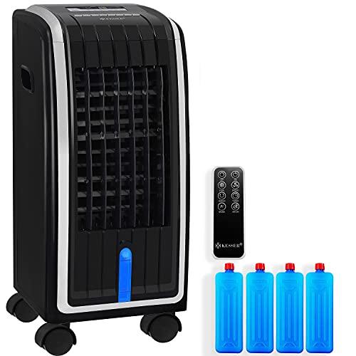 KESSER® 4in1 Mobile Klimaanlage | Fernbedienung | Klimagerät | Ventilator Klimaanlage | 7 L Tank | Timer | 3 Stufen | Ionisator Luftbefeuchter | Luftkühler | Schwarz