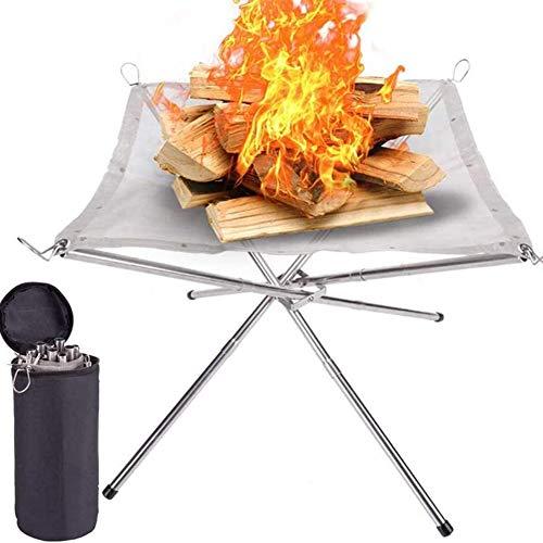 Anmutigcelle Tragbare Feuerstelle für den Außenbereich, 41,5 cm, Camping-Feuerstelle faltbar, Stahlgeflecht, Feuerstelle für Camping, Outdoor, Terrasse, Hinterhof und Garten