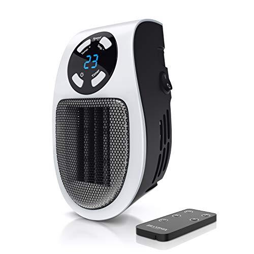 CSL - Steckdosen Heizlüfter mit Fernbedienung - Mini Keramik Heizung mit Thermostat - Lüfter 500W - Temperaturregelung Timer Überhitzungsschutz - Steckdosen-Heizlüfter - Badezimmer Schlafzimmer
