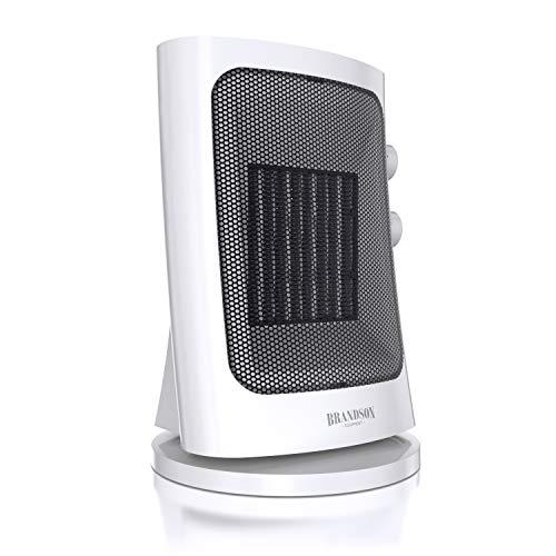 Brandson - Heizlüfter mit zwei Leistungsstufen - Heizlüfter Badezimmer energiesparend leise - stufenlose Temperaturregelung - Keramik Heizelement - Thermosicherung - Heizung Heater - weiß