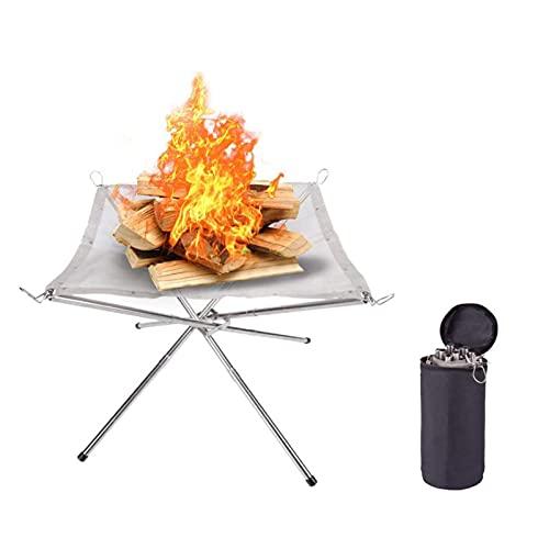 Tragbare Feuerstelle aus Edelstahl im Freien, Camping-Feuerstelle Lebendige, Rainbow Flammen (Weiß)