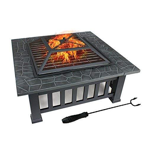 DAWOO 3 in 1 Feuerstelle BBQ Innenhof Terrasse Quadratisch Metall Feuerherd Grill mit wasserdichter Abdeckung für Outdoor,Camping, Picknick,Kochen,Parties