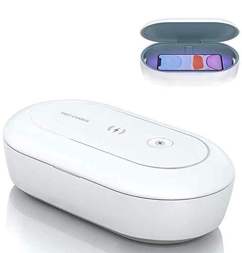 AONCO UV Licht Sterilisator mit Wireless Charger, 10W UV-C Desinfektionsgerät Sauber Box mit Aroma Diffusor, Tragbar Sterilisationsbox für Maskup Zahnbürste Brille Ohrhörer Schmuck Beobachten