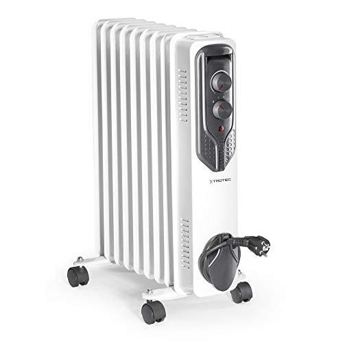 TROTEC Ölradiator TRH 20 E - elektrischer, energiesparender Heizkörper mit 9 Rippen, 3 Heizstufen (800/1.200/2.000 Watt), regulierbaren Thermostat und Sicherheitsabschaltfunktion