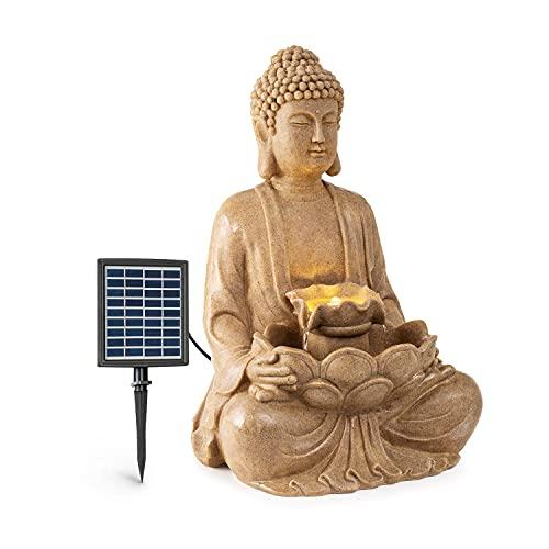 blumfeldt Dharma Solarbrunnen, Gartenbrunnen, Zierbrunnen, Dekobrunnen, Solarbetrieb, LED-Beleuchtung, 48 x 72 x 41 cm (BxHxT), Material: Polyresin, für drinnen und draußen, Sandfarben
