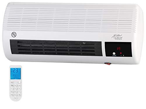 Sichler Haushaltsgeräte Badheizlüfter: Kompakter Wandheizlüfter mit Fernbedienung, Thermostat, 2.000 Watt (Wandheizlüfter Bad)