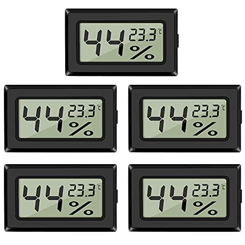 5-Pack LCD Digital Hygrometer Thermometer, Mini Digital Temperaturmesser Feuchtigkeitsmesser für Gewächshaus/Autos/Zuhause/Büro (Schwarz)