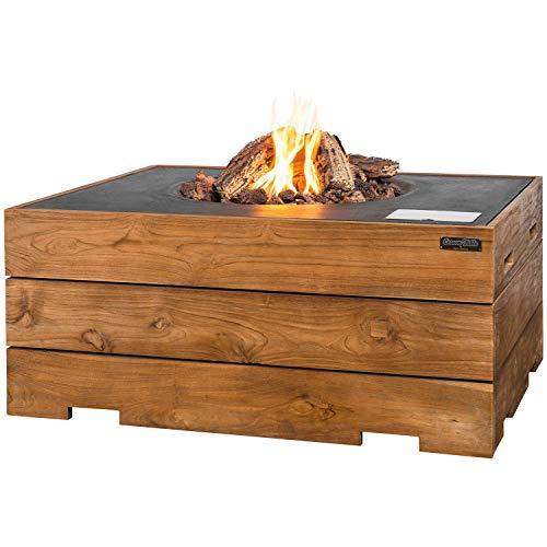 MANIA Feuertisch für den Garten - Gas Feuerstelle ohne Rauch, Funken, Glut & Asche - Gaskamin Outdoor mit 19,5 kW & Teakholz Verkleidung 107 x 80 x 46 cm - Gasfeuerstelle Terrassenkamin Kaminfeuer