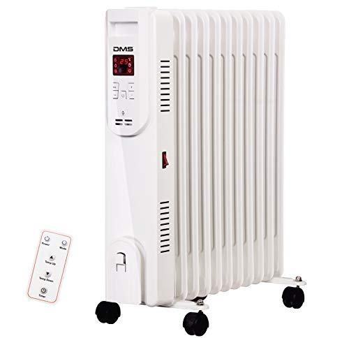 DMS® Ölradiator - Elektrische Heizung mit 13 Rippen 2500W Öl Radiator Elektroheizung Mobil LED Display, Fernbedienung Timer Wlan Abschaltautomatik Überhitzungsschutz App Funktion (13 Rippen mit WLAN)