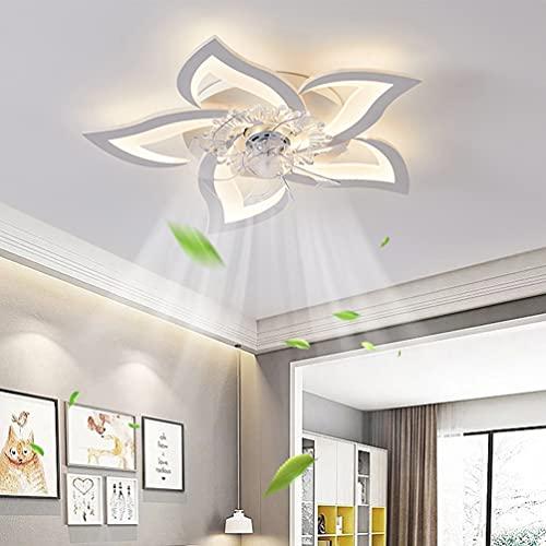LED Dimmbar Deckenventilator Mit Lampe Modern Kreativität 5 flammige Ventilator-Deckenleuchte Leise 50W Mit Fernbedienung Lüfter Deckenlampe Esszimmer Schlafzimmer Unsichtbare Fan Licht Weiß 60cm