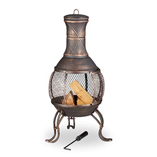Relaxdays, Bronze Aztekenofen, Schürhaken, Holzrost, Funkenschutzgitter, Garten, Terrasse, antiker Feuerofen, Höhe 89 cm