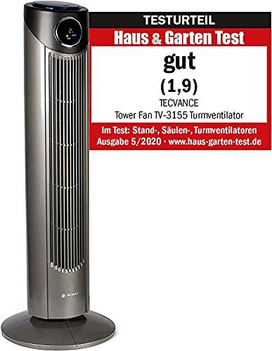 TECVANCE Version 2021 Tower Fan PLUS - Turmventilator mit Fernbedienung, Säulenventilator leise, 80° Oszillation (schwenkbar), Standventilator mit Timer, 86 cm x 31 cm, Grau