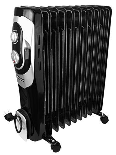 Ölradiator - elektrische Heizung mit 11 Rippen - 3 Heizstufen max.2500W - Öl Radiator Elektroheizung Temperaturregelung - Überhitzungsschutz (2500Watt - schwarz)