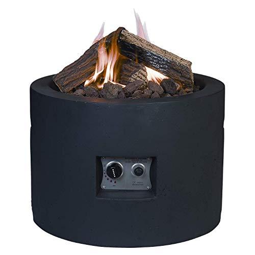 M A N I A Feuertisch für den Garten - Gas Feuerstelle ohne Rauch, Funken, Glut & Asche - Gaskamin Outdoor mit 19,5 kW in Betonoptik schwarz 61 x 61x 42 cm - Gasfeuerstelle Terrassenkamin Kaminfeuer