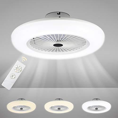 Faziango 80W Deckenventilator mit Beleuchtung, Einstellbare Windgeschwindigkeit und Farbtemperatur, Lüfter-Deckenleuchte mit Fernbedienung Wohnzimmer Schlafzimmer Esszimmer Fan Lampe LED, 2700K-6500K