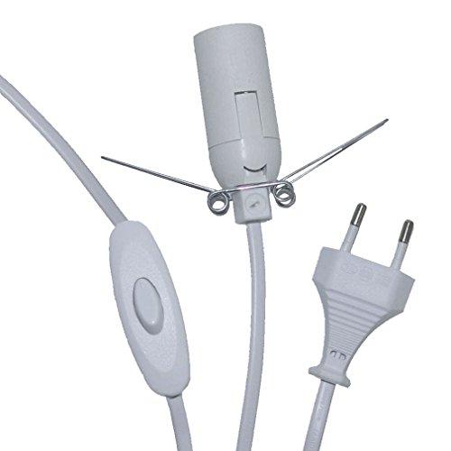 Kabel mit Schalter Fassung E14 weiß 175 cm lang für Salzlampe