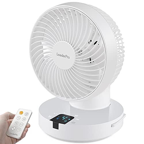 Ventilator 360° - Tischventilator mit Fernbedienung und Ventilator Leise Luftzirkulation,Tastbildschirm/4 Windstärken/36W Weiß…