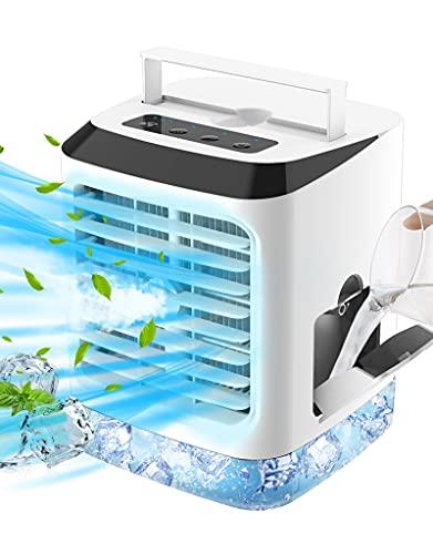 Mobile Klimageräte Mini Klimaanlage Leise, 4 In 1 Tragbar Luftkühler mit Wasserkühlung, Luftbefeuchter, 7 Stimmungslichtern, 3 Windgeschwindigkeiten Air Cooler für Zimmer, Büro und Zuhause